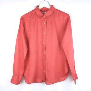 Uniqlo 100% Linen Collared Button Down Shirt Small